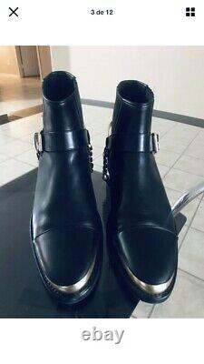 Mens Christmas gift Balmain Paris Leather Chain Embellished Ankle Boots Size 10