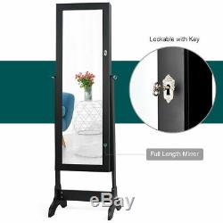 Mirrored Lockable Jewelry Cabinet Armoire Storage withDrawers Black Christmas Gift