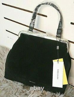 NEW Karen Millen Black Suede Handbag RRP £250 Xmas Gift