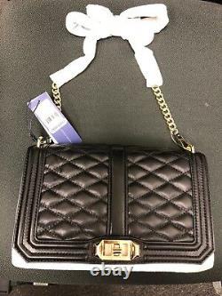 NWT REBECCA MINKOFF Love Quilted Crossbody Black/Gold Christmas Gift