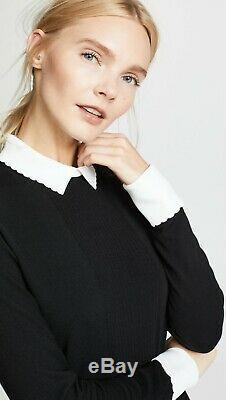 New Tory Burch Sabina dress collar knit women holiday gift sz L black white