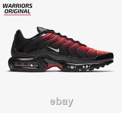 Nike Air Max Plus Black Bright Crimson Wolf Grey Men's Trainers Sizes UK-10 Sale