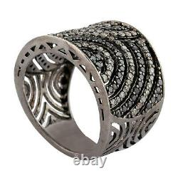 Oxidized 925 Sterling Silver Studded Black & White Diamond Vintage Ring Gift
