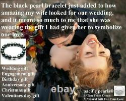 Pacific Pearls 10-12mm Tahitian Black Pearl White Gold Bracelet Christmas Gifts