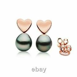 Pacific Pearls Tahitian Black Rose Gold Stud Pearl Earrings 10mm Christmas Gift