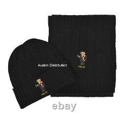 Polo Ralph Lauren Cable Knit Holiday Hot Cocoa Bear Hat & Scarf Gift Set New