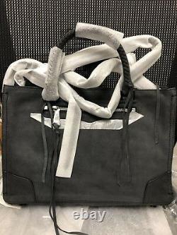 Rebecca Minkoff Regan Satchel Tote Black Nubuck Leather, Christmas Gift $325