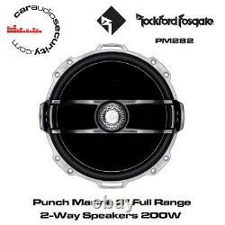 Rockford Fosgate PM282 Punch Marine 8 Full Range 2-Way Speakers White 200W