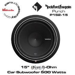 Rockford Fosgate Punch P1S2-15 15 P1 Subwoofer 500 Watts Single 2Ohm Bass Sub