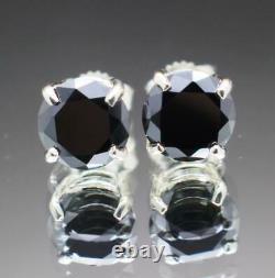 Round Cut Black Diamond Stud Earrings Womens Christmas Gift 14k White Gold Over