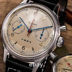 SEAGULL 1963 Sapphire with Extra Nylon BAND Chronograph Mechanical Watch C1963BK