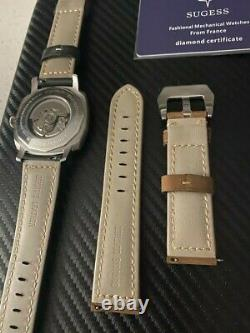 SUGESS 43mm California Dial Homage Mens Watch Silver BRAND NEW NWT U. S. A. SELLER