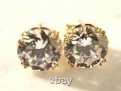 Stud Earrings Gold 14K gold Simulated Diamond stud earrings, Christmas gift