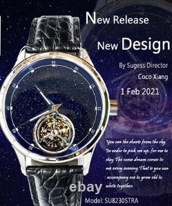 Sugess 2021 Tourbillon Blue GoldStone Seagull ST8230 Mechanical Watch SU8230STRA