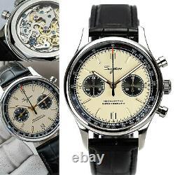 Sugess 40MM Race Panda Chronograph Mechanical Watch Seagull 1963 SUPANK005GN/SN