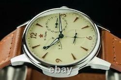 Sugess 40mm Gustav Becker Small Second + Power Reserve Mechanical Watch Beige