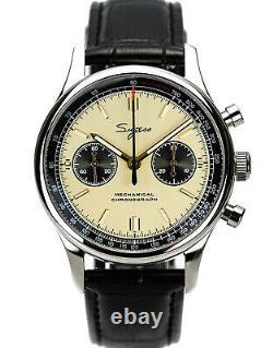 Sugess 40mm Racing Champagne Gold Panda SWAN NECK Mechanical Watch SEAGULL 1963
