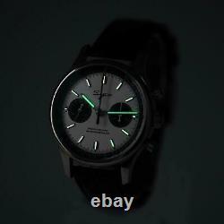 Sugess 40mm Racing Panda SWAN NECK DEEP BLUE band Chrono Mechanical Wrist Watch