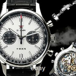 Sugess 40mm Swan Neck Panda Chrono Mechanical Watch Seagull 1963 SUPANK006SN
