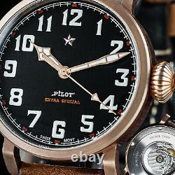 Sugess 42mm Pliot Master Genuine CuSn8 Bronze Mechanical Mens Watch Seagull 1963