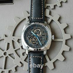 Sugess 43mm BIG DIAL Gustav Becker Skeleton Mechanical Mens Wrist Watch SUPAMSS