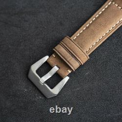 Sugess 43mm Gustav Becker California Dial Mens Mechanical Watch Silver Khaki