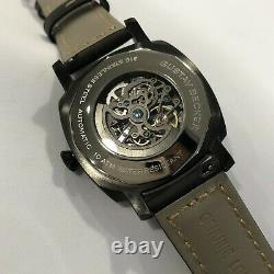 Sugess 43mm Gustav Becker PVD BLACK TOUGH Skeleton Mechanical Mens PAM Watch