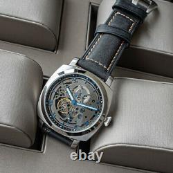 Sugess 43mm Gustav Becker SILVER TOUGH Skeleton Mechanical Mens PAM Watch