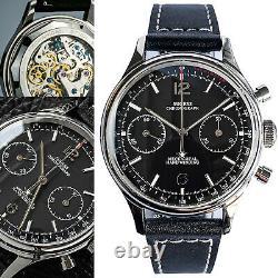 Sugess Black Fashion Chronograph Mechanical Watch Seagull 1963 SUPAN003GN/SN V2