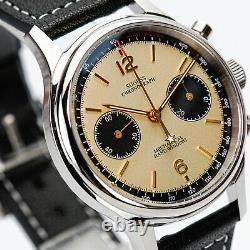 Sugess Champagne Panda Brown x Black 2 Band Chronograph Mens Watch Seagull 1963