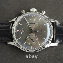 Sugess Convex Mineral Glass Grey Gradient Dial Chronograph Mens Vintage Watch