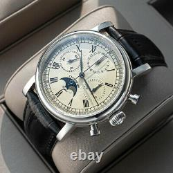 Sugess GOLD SWAN NECK MoonPhase MASTER Chronograph Watch Seagull 1963 SUM199X