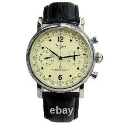 Sugess Heritage Beige Chronograph Mechanical Mens Watch Seagull Movement 1963