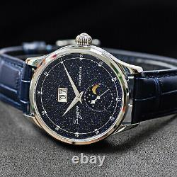 Sugess MoonPhase Blue Gold Stone Dial Mechanical Watch Seagull 1963 SU2528STRA