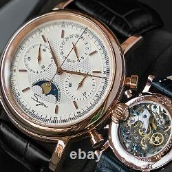 Sugess MoonPhase GOLD SWAN NECK Chronograph Mens Watch Seagull 1963 SU1908GKX