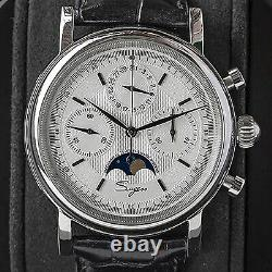 Sugess MoonPhase Master Chronograph Mechanical Mens Watch Seagull 1963 White