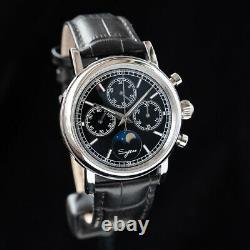 Sugess MoonPhase Master Chronograph Mechanical Watch Seagull 1963 Silver Black
