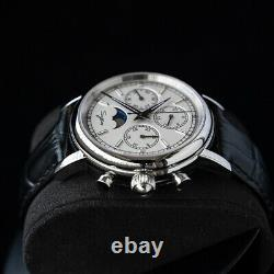 Sugess MoonPhase Master Chronograph Mechanical Watch Seagull 1963 Silver White