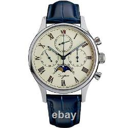 Sugess MoonPhase Master II Chronograph Mechanical Mens Watch Seagull 1963 Beige