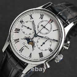 Sugess MoonPhase Master II Chronograph Mechanical Watch Seagull 1963 White