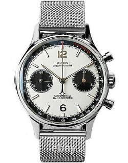 Sugess Panda Chrono Chronograph Mechanical Mens Watch Seagull 1963 SUPAN007GN/SN