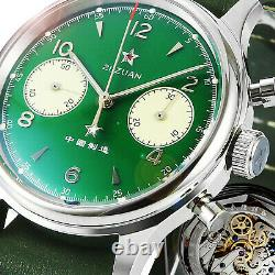 Sugess SEA-GULL 1963 Sapphire Green Dial Chrono Mechanical Mens Watch SU1962SG