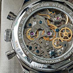 Sugess SWAN NECK Panda Chronograph Mechanical Mens Watch Seagull 1963 SUPAN009SN