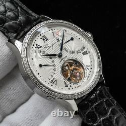 Sugess Tourbillon Master Crystal Day Date Seagull ST8004 Mechanical Watch Silver