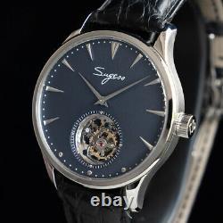Sugess Tourbillon Master SILVER GRAY Seagull ST8000 Mechanical Mens Watch