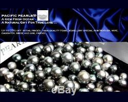 Tahitian Black Pearl White Gold Necklace 10-12mm Pacific Pearls Christmas Gifts