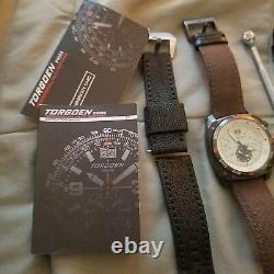 Torgoen Tactical men's Cream dial Swiss (1) black strap. Xmas gift. Retail $540+
