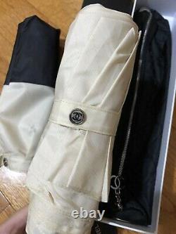 VIP Gift Umbrella Camellia Black & Beige Automatic Pouch NEW Christmas Gift