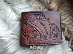 VW Type 1 Bug, Kafer, Beetle, Leather wallet for men, Brown christmas gifts