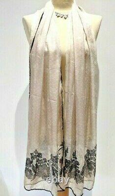 Valentino Long Scarf Ivory Black Silk in FLORIS of London gift box Shawl/Wrap
